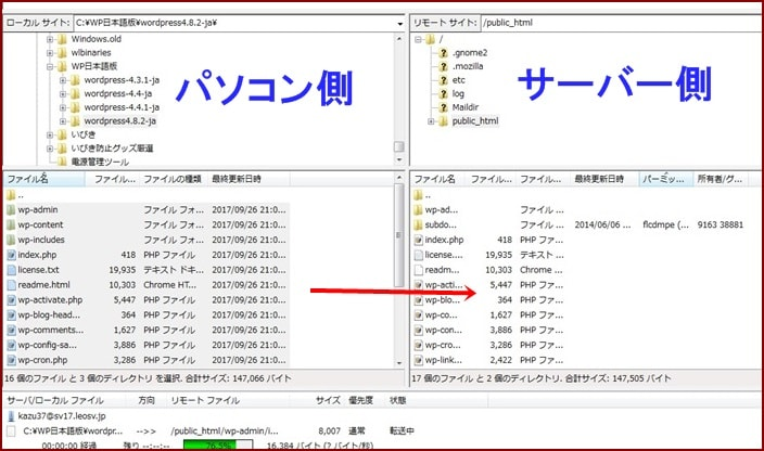 ftpソフトでwordpressをインストール